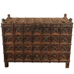 Massive Antique Indian Carved Wood Dowry Chest