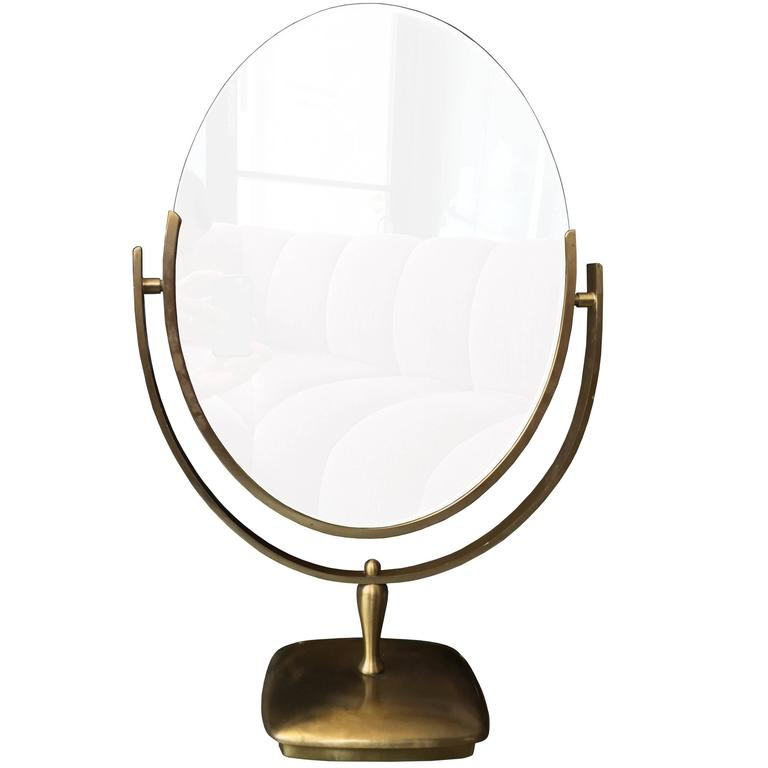 Large Brass Vanity Mirror by Charles Hollis Jones