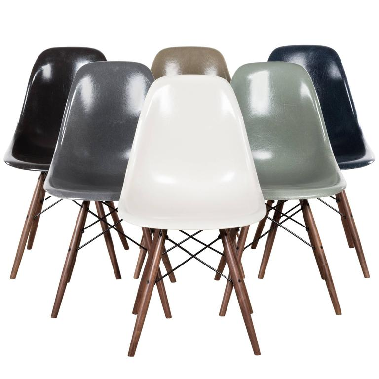 Set Of Six Eames Dsw Herman Miller Usa Dining Chairs For