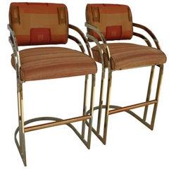 Vintage Mid-Century Flat Bar Gold Brass Cantilever Stools Arthur Umanoff Style