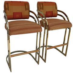 Vintage Mid-Century Milo Baughman Flat Bar Gold Brass Cantilever Bar Stools