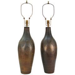 Pair of Bitossi 1960s Incised Ceramic Lamps
