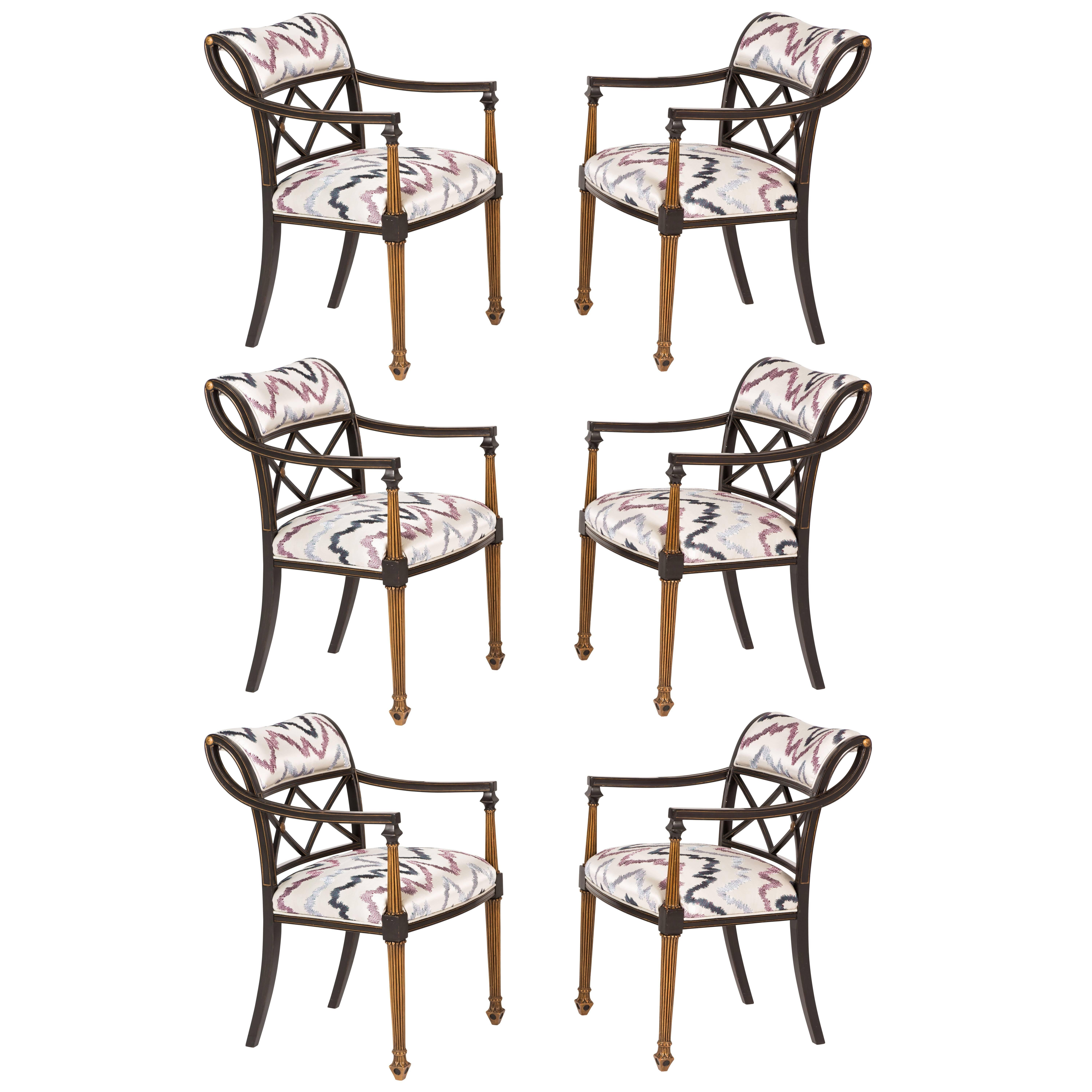 Set of Six Regency Style Armchairs by Interior Crafts, Chicago