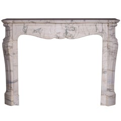 Pompadour Fireplace, Louis XV Style, in Arabescato Marble, 19th Century