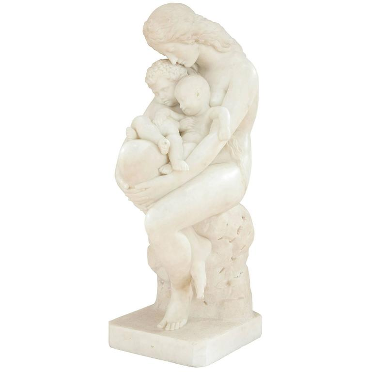 'The First Cradle' White Marble Antique Italian Sculpture by Pietro Franchi For Sale