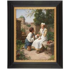 'The Romantic Proposal in the Gardens', Oil Painting by Julius Victor Berger