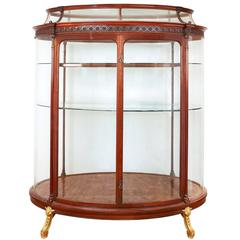 French Golden Ormolu-Mounted Brown Mahogany and Parquetry Large Antique Vitrine