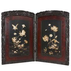 Folding Carved Wood Antique Japanese Shibayama Screen from the Meiji Period