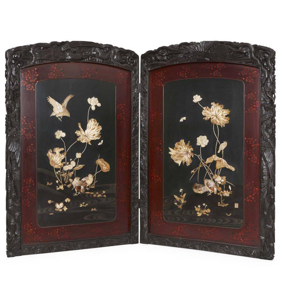 Antique japanese screens for sale - Folding Carved Wood Antique Japanese Shibayama Screen From The Meiji Period