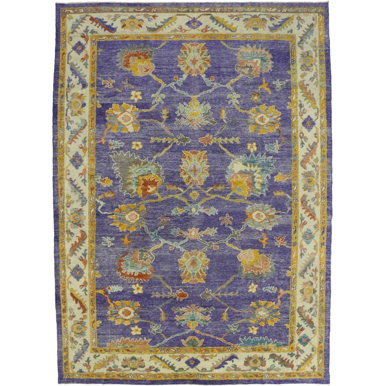 Contemporary Turkish Oushak Purple Area Rug With Modern Style And