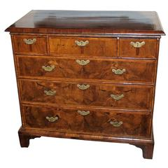English Walnut Cottage Chest of Drawers, 18th Century
