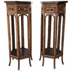 Pair of 19th Century Bamboo and Ebonized Hexagon Pedestals
