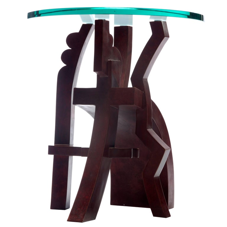 Contemporary Small Side-Table #1 in Bronze and Glass