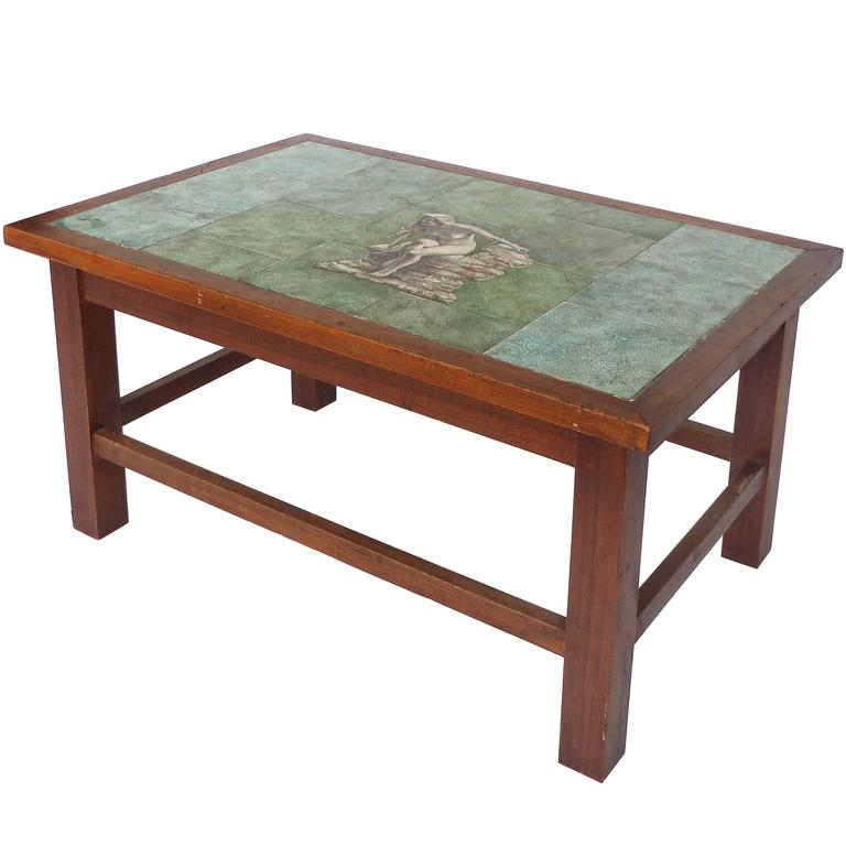 Hand Painted Mid Century Tile Top Table, Signed And Dated