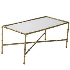 Petite Brass and Mirrored Top Cocktail Table by Maison Bagues