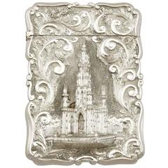 1890s Antique Victorian Sterling Silver Card Case by Nathanial Mills