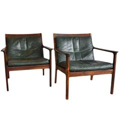 Fine Pair of Rosewood Mid-Century Frederik Kayser Armchairs