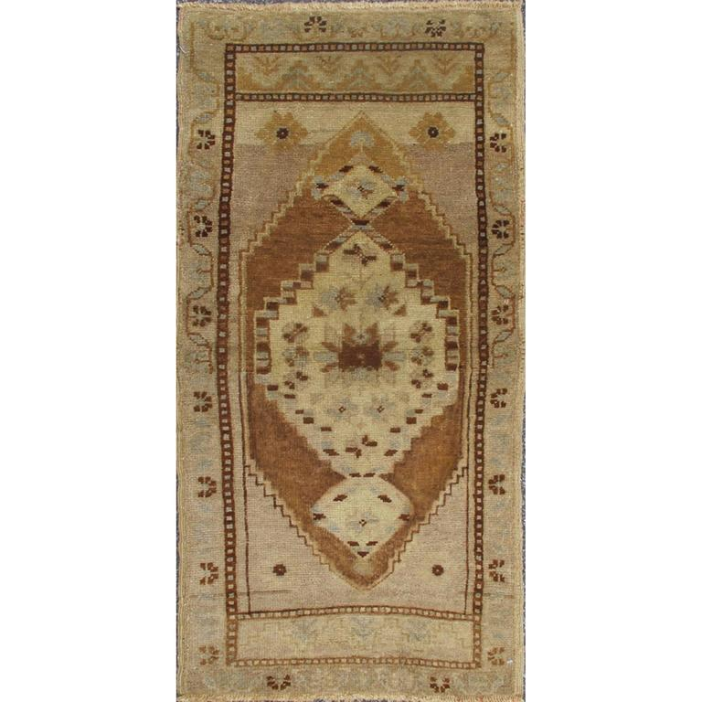 Small Turkish Oushak Carpet With Central Medallion In Light Brown Taupe Gray For