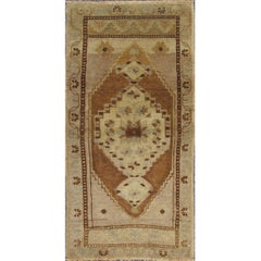 Small Turkish Oushak Carpet with Central Medallion in Light Brown, Taupe & Gray