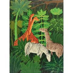 Jean Luc XX, Modern Jungle Animals Scene, Oil on Canvas, Signed