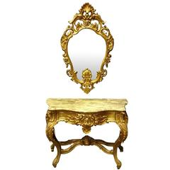 French Gilt amd Marble Topped Console Table with Matching Mirror early C20th