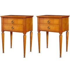 Stylish Pair of French Mid-Century Modern Sycamore Two-Drawer Bedside Cabinets