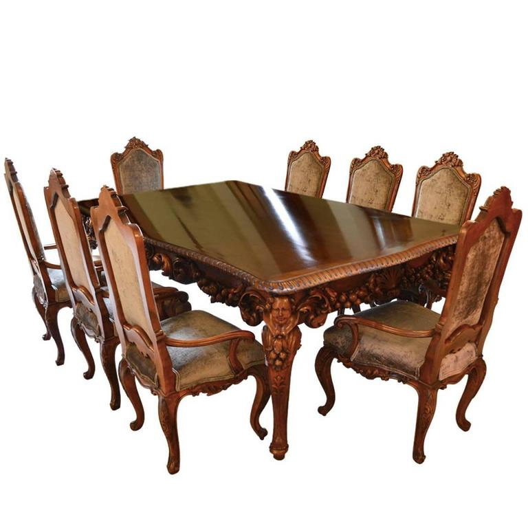 Antique Italian Dining Room Set With Table Chairs Buffet Consoles