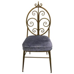 Italian Brass Chiavari Chair with Blue Leopard Upholstery