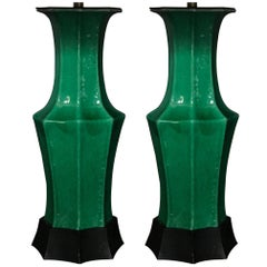 Pair of Antique Green Glaze Chinese Vase Lamps