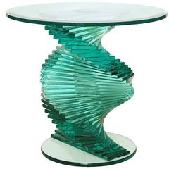 Medium Glass Side Table with Bevelled Glass Top