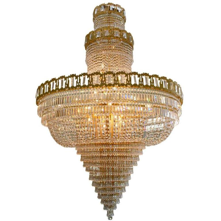 Very Large Mid Century Gold Plated Austrian Crystal Chandelier For