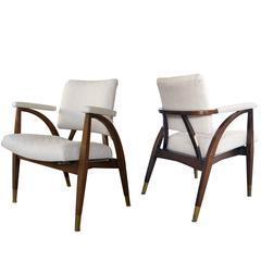 Sculptural Pair of American Armchairs with Shapely Frame, Boling Chair Co, 1949