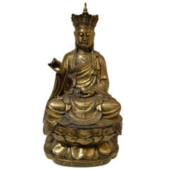 Large Chinese Gilt Bronze Quan Yin Seated Upon Double Lotus Flower