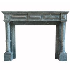 Napoleon III Fireplace in Green Marble of Serravezza, 19th Century