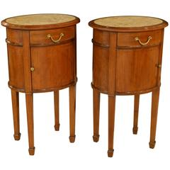 Pair of Mahogany Bedside Chests with Marble Tops