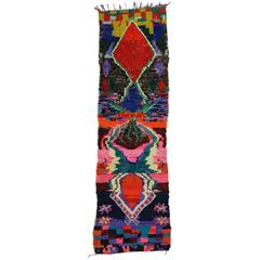 Vintage Berber Moroccan Runner with Contemporary Abstract Design