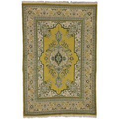 Green and Yellow Vintage Persian Tabriz Rug with Traditional Style