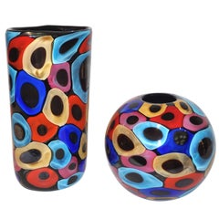 Camozzo 1990 Modern Black Azure Blue Red Pink Yellow Murano Glass Vases