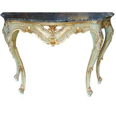 Antique Italian Baroque Console with Serpentine Marble Silver Fleck Ca 1880