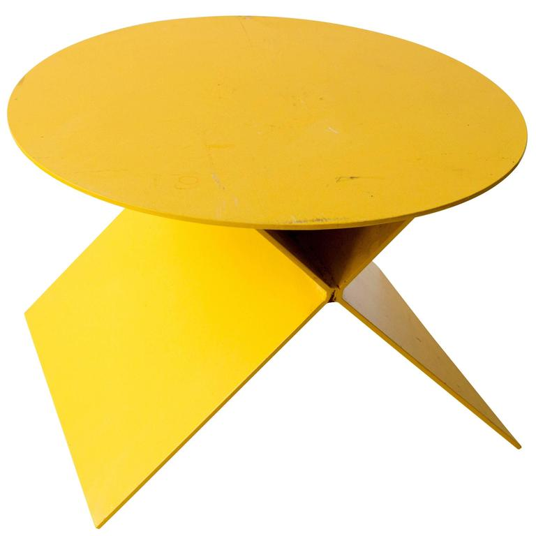Modern Steel Plate Side Table in Chromium Yellow 1