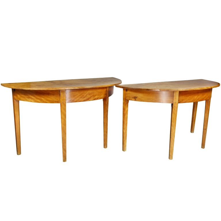 Pair of Neoclassic Birch Demilune Console Tables