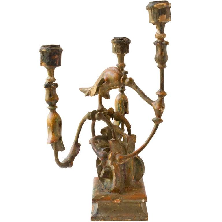 Pair of 18th Century Italian Iron and Wood Three-Light Candelabra For Sale