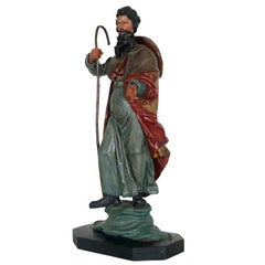 18th Century Restored Polychrome Hand-Painted Wooden Statue of St. James Major