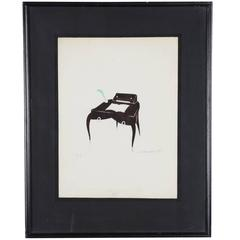 Ink on Paper Framed, a Secretary, by Andre Arbus