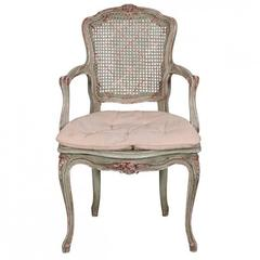 Green Paint Decorated Venetian Fauteuil