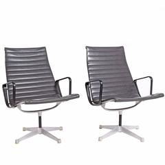 Early Production Aluminum Group Lounge Chairs by Charles Eames