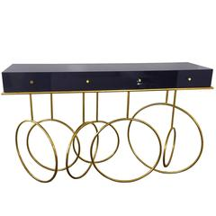Brass and Lucite Console Table by Amparo Calderon Tapia