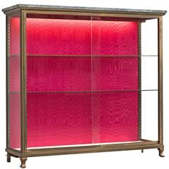 French Small Vitrine in Brass and Glass