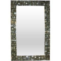 Modern Italian Green Cream Caramel White and Black Murano Glass Mosaic Mirror
