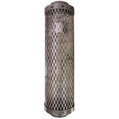 Industrial Steel Cage Sconce with an Expanded Steel Sheet Mesh Cage